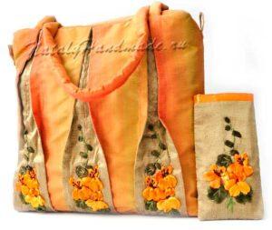 Оранжевая-сумка вышивка лентами