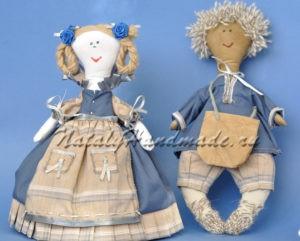 Куклы из ткани. Пара в синем