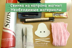 Свинка-магнит-из-капрона-Материалы